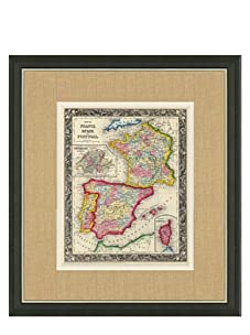 """Mitchell-Antique Map of France, Spain & Portugal, 1860's-1870's, 21"""" x 23"""""""