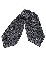 ERA1B02D Black Grey Paisley Economics Family Ascot for Mens Woven Microfiber Cravat Designer Gift Idea By Epoint