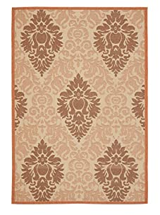 Indoor/Outdoor Tonal Pattern rug (Tonal Cream/Terracotta)