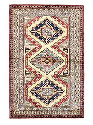 Bashian Rugs One-of-a-Kind Hand Knotted Kazak Rug, Ivory, 4' x 5' 11