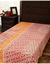 Attractive Single Gudri Rust Cotton Vintage Kantha Work Throw Blanket By Rajrang