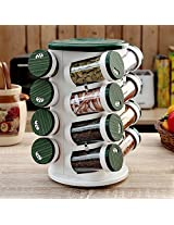 Pebbleyard Plastic Spice Tower, 100 ml, 16-Piece, Green