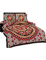 Shop Rajasthan Floral Print 100% Pure Cotton Printed Flat Double Bed Sheet With 2 Pillow Covers