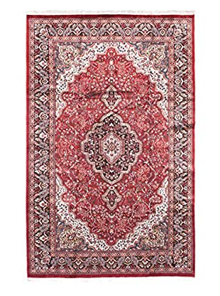 Hand-Knotted Kashmir Kerman Silk Rug, Dark Red, 6' x 9' 6