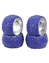 Set of 4 - Blue Beads Beaded Table Decoration Napkin Rings - Perfect for Dinner Parties - Dia 2.5 Inches