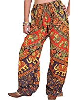 Exotic India Casual Trousers from Pilkhuwa with Printed Elephants - Color Seal BrownGarment Size Free Size
