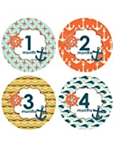 Lucy Darling Shop Monthly Baby Sticker - Baby Boy - Nautical Design - 1-12 Months