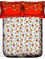 Portico New York Marvella 144 TC Cotton Bedsheet with 2 Pillow Covers - Abstract, Queen Size, Pink