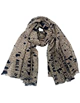 INDMODE Girls' Scarf (Beige and Navy)