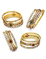 ANTIQUE GOLDEN OVAL SHAPED KUNDAN STONE STUDDED 6 PIECE BANGLE SET