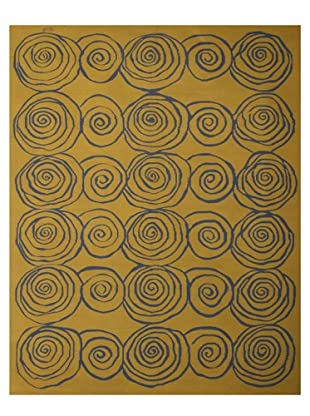 French Accents Modern Flatweave Killim Rug (Blue/Gold)