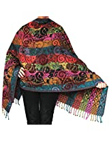 Womens Paisley Boiled Wool Shawl Wrap Gift India Clothes (74 x 28 inches)