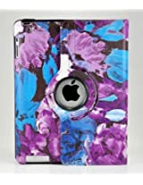 LiViTech(TM) Modern Art Flower Design Series 360 Degree Rotating PU Leather Case Cover for Apple iPad Air, iPad Mini with Retina and iPad 2 3 4 (iPad 2 3 4, P Purple)