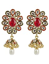 MUCHMORE Pink-Green Brass Jhumki Earring For Women Gift Jewelry