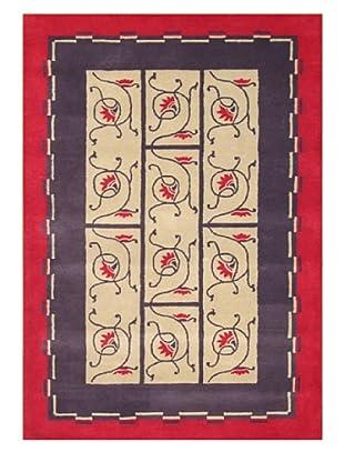 Znz Rugs Gallery Handmade Tufted New Zealand Blend Wool Rug, Dark Beige/Purple/Red, 5' x 8'