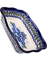 Polish Pottery Ceramika Boleslawiec Fala Baker Small, 7-3/4-Inch by 6-1/8-Inch, 3 Cups, Royal Blue Patterns with Blue Pansy Flower Motif