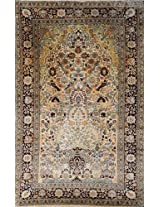 Beige Carpet from Kashmir with Knotted Flower Vase and Birds