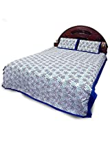 Rajasthani Print Blue Cotton Double Bed Sheet Set