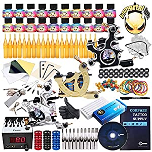 Complete Tattoo Kit 3 Machine Gun 40 Color Ink Power Supply Needles Set
