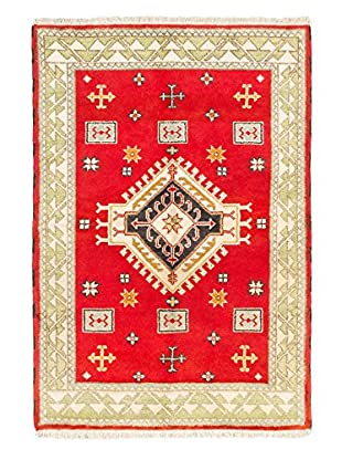 Hand-Knotted Royal Kazak Wool Rug, Light Red, 4' 1