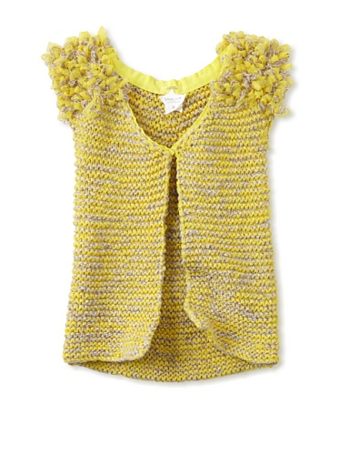kicokids Girl's Pompom Shoulder Cardigan (Citrus)