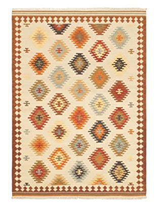 Hand Woven Ankara Kilim, Brown/Cream, 5' 7