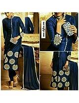 Shree Fashion Woman's Cotton With Dupatta [Shree (45)_Blue]