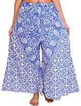 Exotic India Palazzo Pants from Pilkhuwa with Printed Flowers and Elephants - Color Nautical BlueGarment Size Free Size