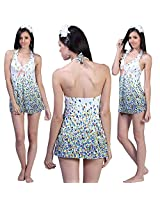 Glamorous Open Back, Colorful Blue Buds V-Neckline Cover-Up-Swim Suit