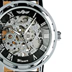 Men's Black Dial Leather Strap Luxury Stainless Case Self-Wind Up Mechanical Automatic Watch