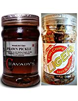 SeaFood Lover's Combo - CHAVADY's Prawn Pickle 300 Gms & LIGER Fish Chips 100 Gms ...