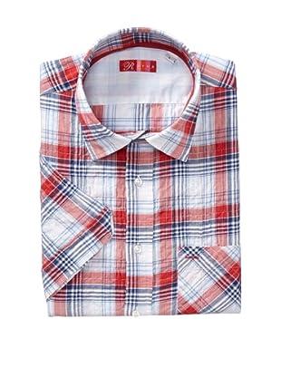 Rufus Men's Button Down Check Shirt (White/Red/Blue)