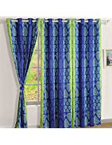 Swayam Printed Blackout Window Curtain With Eyelets - Blue & Green