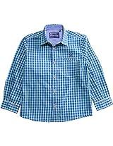 Peach Boys Long Sleeve Cotton Shirt With Green & Navy Checks