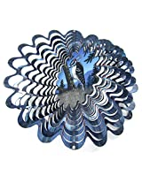 "Iron Stop 10"" 3 D Metal Wind Spinner Animated Holographic Woodpecker Bird Powder Coated Steel + 2 Swivels"