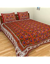 CBS 120 TC Cotton Double Bedsheet with 2 Pillow Covers - King Size, Multicolour