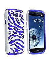 Pandamimi Dark Blue White Zebra Combo Hard Soft High Impact Samaung Galaxy s3 i9300 Armor Case Skin Gel with free screen protector and stylus
