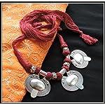 Oval Pendant Thread Necklace - Maroon
