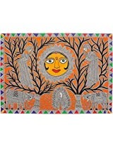 Exotic India Lord Surya - Madhubani Painting on Hand Made Paper - Folk Painting from the Village of
