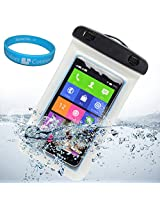 """Sumaccn Underwater Waterproof Case Bag Pouch With Removable Strap Armband For BLU Studio 5.0k / BLU Studio 5.0 C HD / BLU Studio 5.5 D610a / SHARKK Android Smartphone 4G Unlocked GSM Phone 5"""" + SumacLife TM Wisdom Courage (White)"""