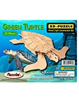 Puzzled Green Turtle 3D Natural Wood Puzzle [Toy]