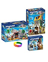 Play Mobil Super 4 Camouflage Pirate Fort With Ruby, Pirate Cave With Sharkbeard Figure And Dimple Bracelet
