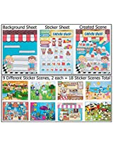 18 Make-a-sticker Scene Variety Pack (Design Your Own Pizza Shop, Sweet Bake Shop, Circus, Farm, Bea