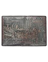 Passport Holder/Cover of ABS Leather with India Mystic Land Theme (Chocolate Brown)