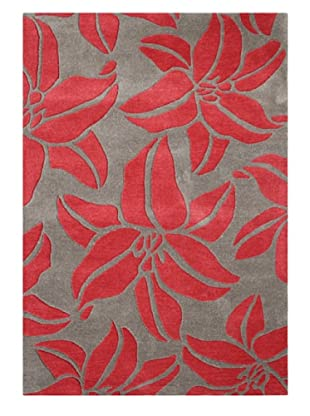 Horizon Bold Floral Rug (Grey/Poppy Red)