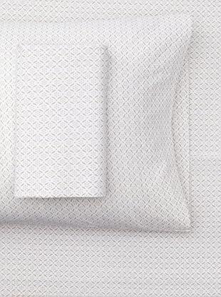 sOUP Home Okhla Flora Outline Sheet Set (White/Natural)
