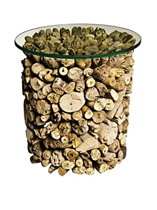 Foreign Affairs Round Nubble Driftwood Side Table Nubble, Glass Top