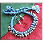 [N16O_012] Blue Thread Necklace
