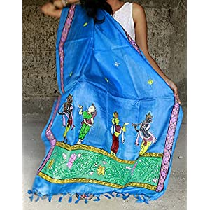 Chanchal Hand Painted Pattachitra Blue color Tassar-Tassar Dupatta