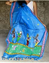Chanchal Hand Painted Pattachitra Blue color Tassar-Tassar Dupatta